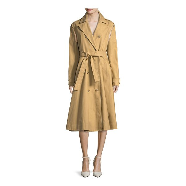 CALVIN KLEIN 205W39NYC Double-Breasted Swing Trench Coat with Detachable Sleeves - CALVIN KLEIN 205W39NYC cotton trench coat. Notched collar;...