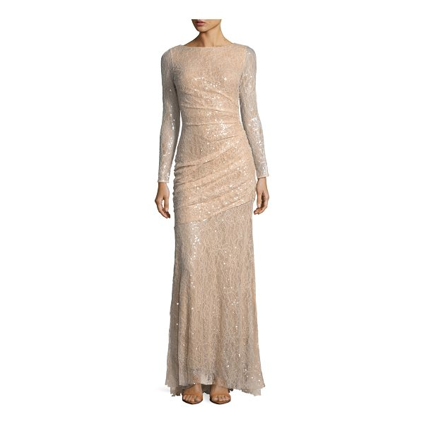 CARMEN MARC VALVO Long-Sleeve Lace Sequin Evening Gown - Carmen Marc Valvo evening gown in sequined lace with...