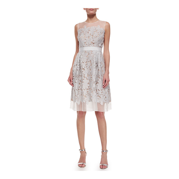 CARMEN MARC VALVO Sleeveless Lace Fit & Flare Cocktail Dress - Carmen Marc Valvo cocktail dress with lace applique over...