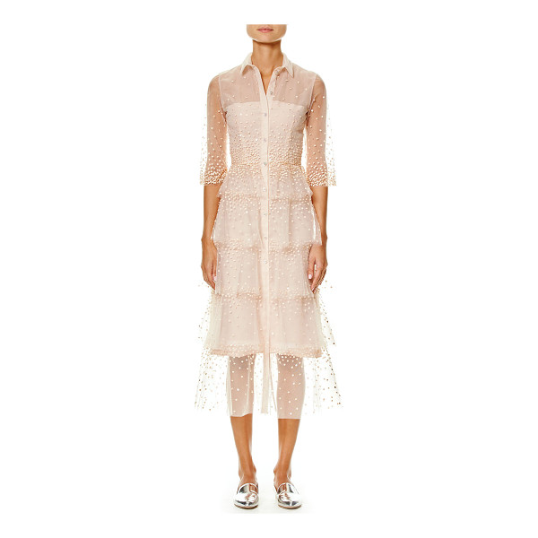 CAROLINA HERRERA Embroidered Tulle 3/4-Sleeve Trench Dress - Carolina Herrera embroidered tulle trench dress. Approx....