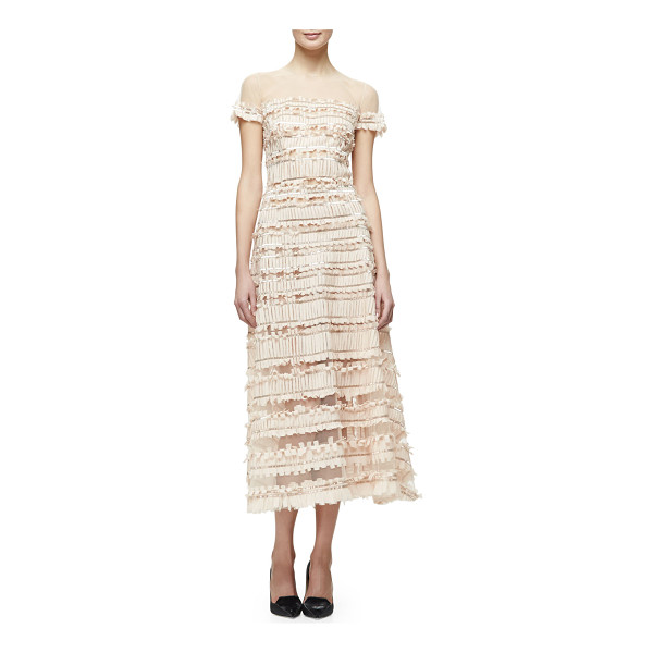 CAROLINA HERRERA Short-Sleeve Tulle-Embroidered Midi Dress - Carolina Herrera embroidered-tulle dress with fringe trim....