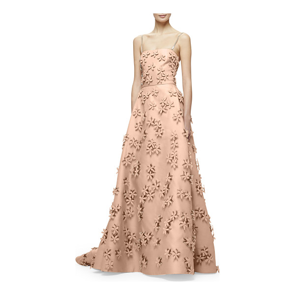 CAROLINA HERRERA Sleeveless 3D Floral-Embellished Gown - Carolina Herrera stretch-woven gazaar gown with allover...