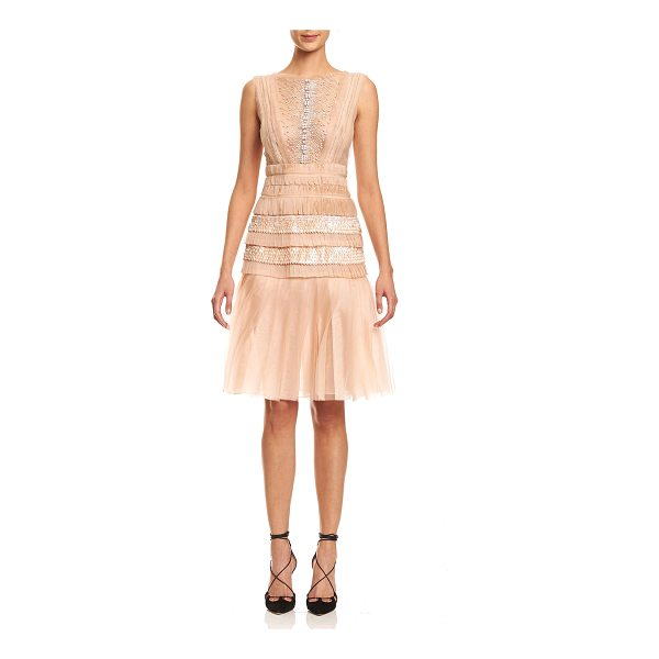CAROLINA HERRERA Sleeveless Bateau-Neck Embroidered Dress - Carolina Herrera embroidered organza dress. Bateau...
