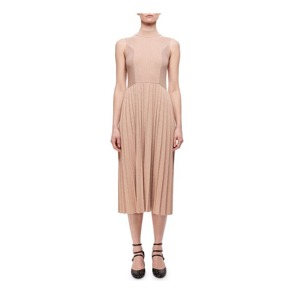 CARVEN Pleated Metallic Wool-Blend Sleeveless Dress - Carven pleated dress in metallic wool-blend. Mock neckline....