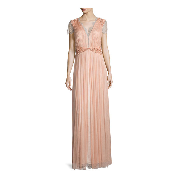 CATHERINE DEANE Short-sleeve lace gown - Catherine Deane layered French silk and tulle gown....