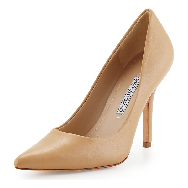 "CHARLES DAVID Sway ii leather pointed-toe pump - Charles David leather pump. 4"" covered heel. Pointed toe...."