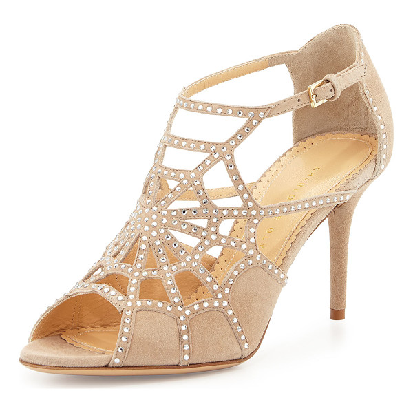 """CHARLOTTE OLYMPIA Lotte spider-web suede sandal - Charlotte Olympia crystal-embellished suede sandal. 3. 3""""..."""