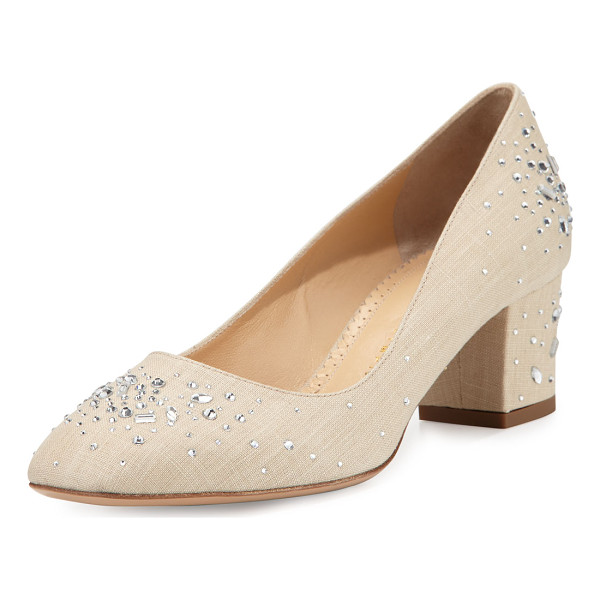"CHARLOTTE OLYMPIA Low-Heel Jeweled Linen Pump - Charlotte Olympia jeweled linen pump. 2"" covered block"