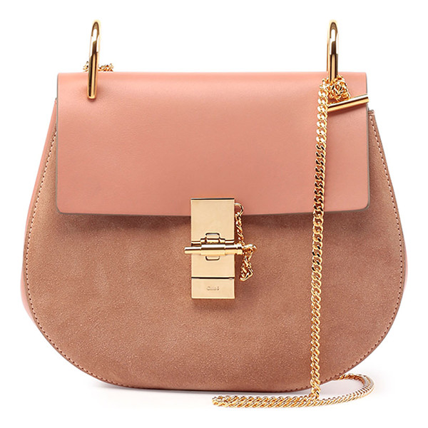 CHLOE Drew Leather & Suede Shoulder Bag - Chloe small shoulder bag in suede and leather. Golden brass...