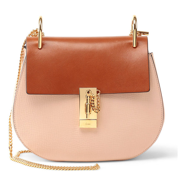 CHLOE Drew Mini Colorblock Shoulder Bag - Chloe two-tone calfskin and lambskin saddle bag. Golden...