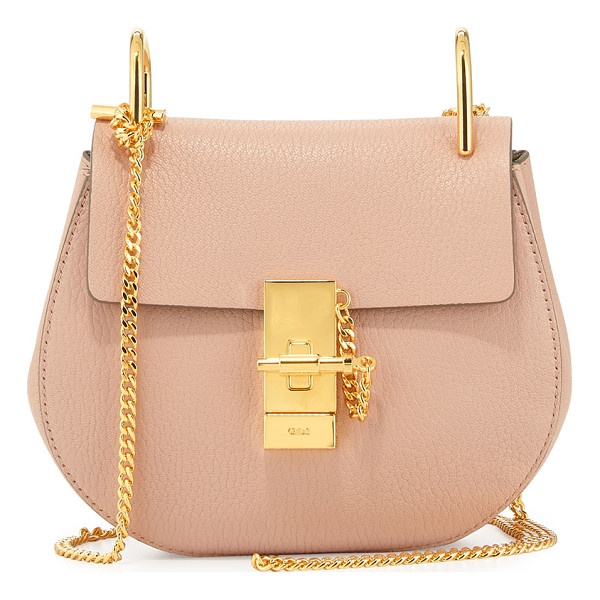 CHLOE Drew Mini Lambskin Shoulder Bag - Chloe grained lambskin shoulder bag. Golden brass hardware.