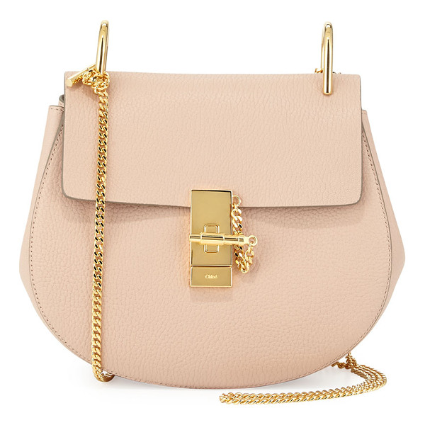 CHLOE Drew Small Chain Saddle Bag - Chloe pebbled lambskin saddle bag. Pale golden hardware,
