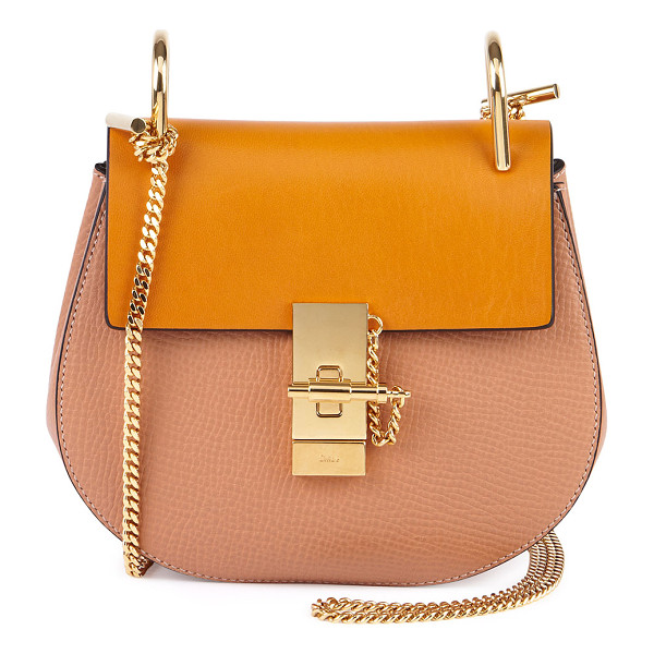 CHLOE Drew Small Chain Shoulder Bag - Chloe grained calfskin shoulder bag. Golden hardware. Chain