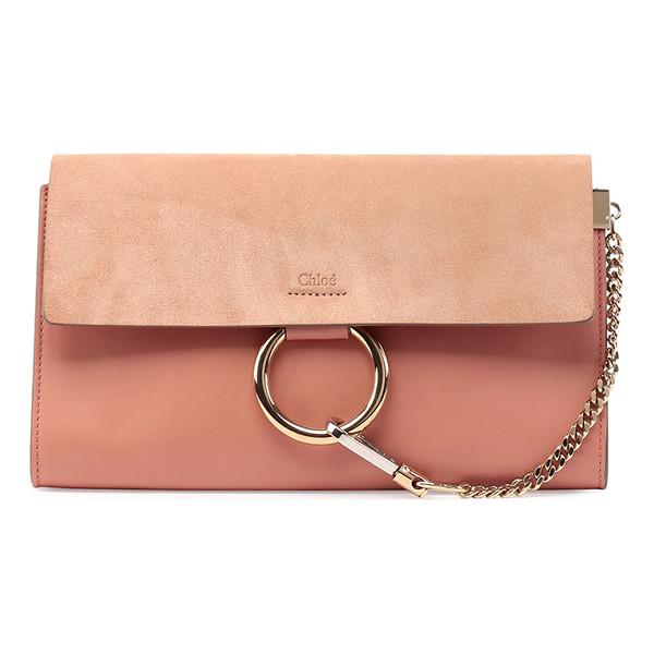 CHLOE Faye leather & suede clutch bag - Chloe clutch bag in leather. Pale golden hardware with...