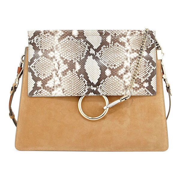 CHLOE Faye Python Flap Shoulder Bag - Chloe suede and python shoulder bag. Golden and silvertone