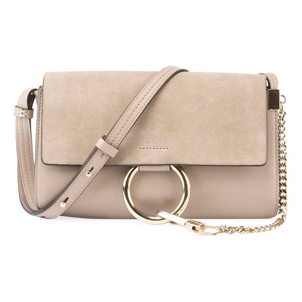 CHLOE Faye Small Suede/Leather Shoulder Bag - Chloe calfskin and suede shoulder bag. Adjustable leather...