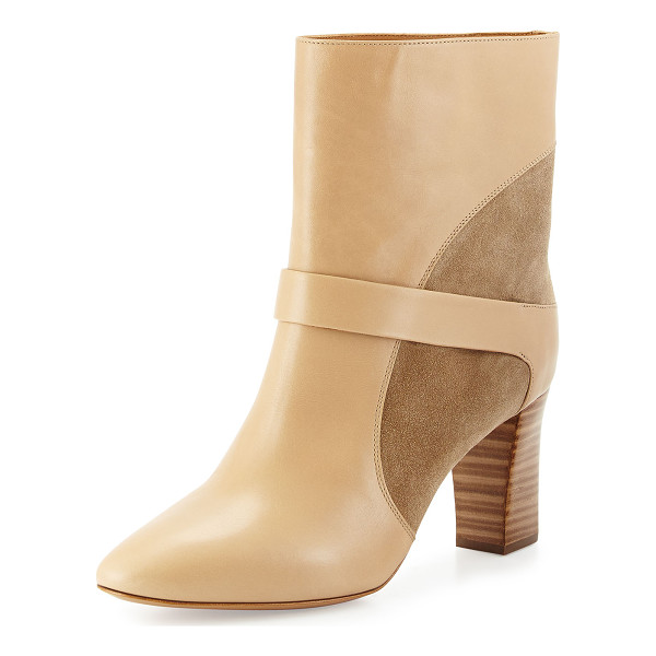 "CHLOE Gianna Leather Colorblock Boot - Chloe colorblock leather and suede boot. 3"" stacked heel...."