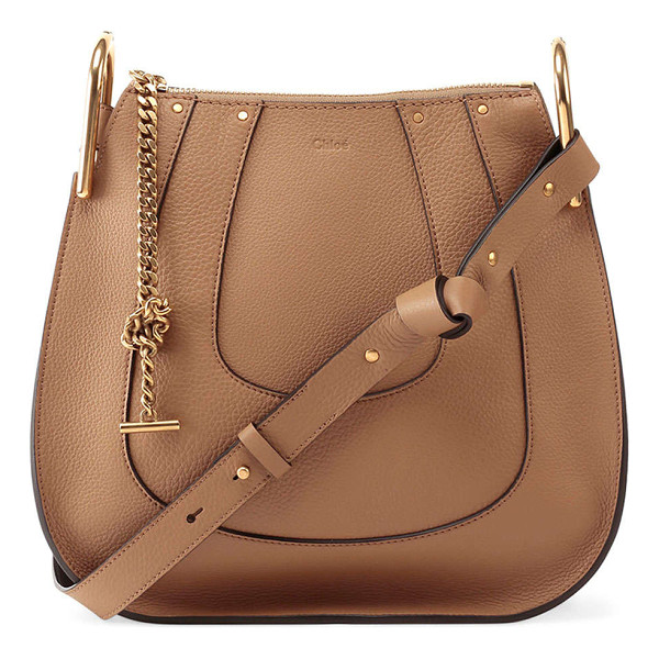 CHLOE Hayley Small Leather Hobo Bag - Chloe soft, horseshoe-paneled calfskin hobo bag. Golden...