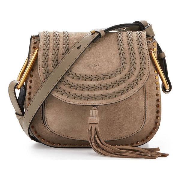 CHLOE Hudson Small Suede Shoulder Bag - Chloe suede and calfskin shoulder bag with brass hardware.
