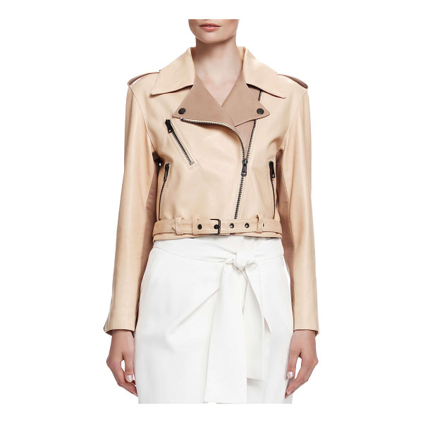CHLOE Laced-back napa leather jacket - Chloe jacket in tone-on-tone napa lambskin leather. Notched...