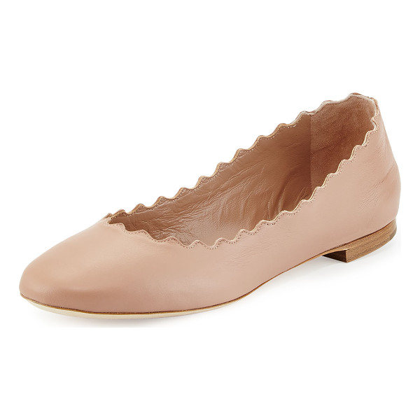 "CHLOE Lauren Scalloped Leather Ballerina Flat - Chloe napa leather ballerina flat. 0.3"" flat stacked heel...."