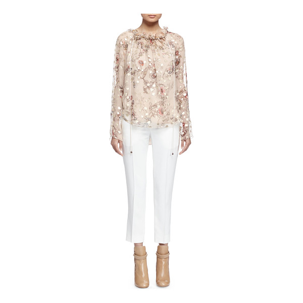 """CHLOE Long-Sleeve Floral-Print Blouse - Chloe top in floral-print fil coupe. Approx. length: 31""""L..."""