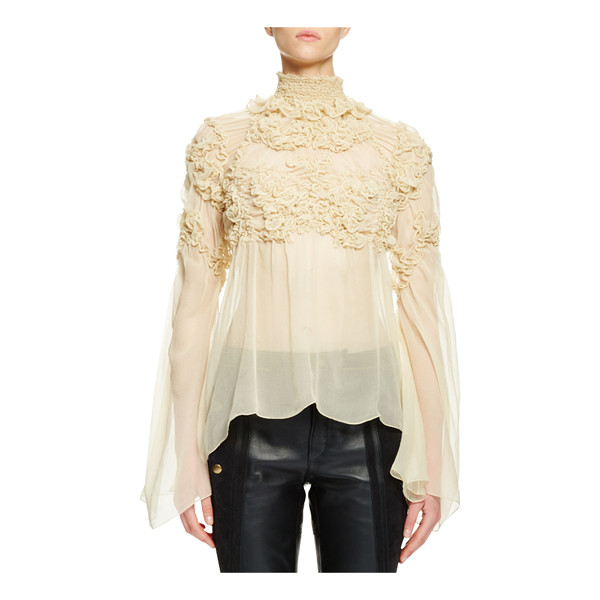 CHLOE Long-Sleeve Mock-Neck Rosette Top - Chloe sheer crepon blouse with tonal rosette embroidery and...