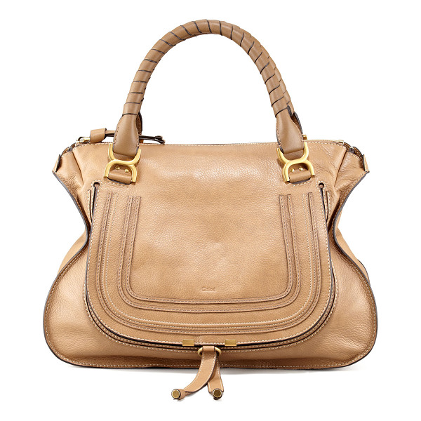 CHLOE Marcie large leather satchel bag -  Calfskin with golden hardware. Leather-wrapped top handles...