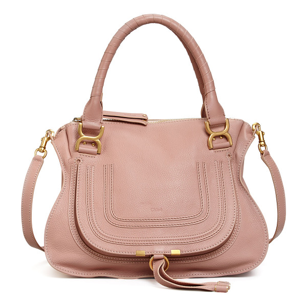 CHLOE Marcie Medium Satchel Bag - Chloe grained calfskin satchel bag with antiqued brass
