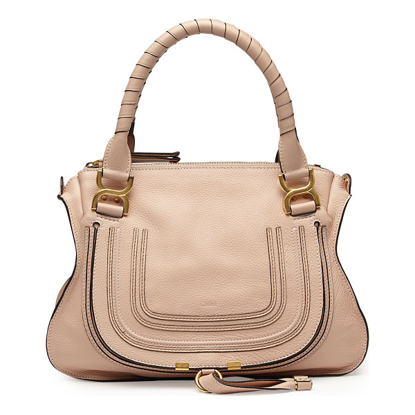 CHLOE Marcie Medium Satchel Bag - Chloe grained calfskin shoulder bag with golden hardware.