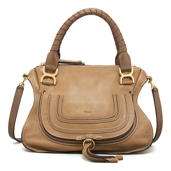 CHLOE Marcie Medium Satchel Bag - Chloe pebbled leather satchel bag. Golden hardware. Wrapped...