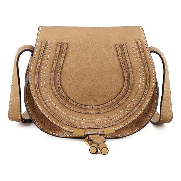 CHLOE Marcie Small Leather Crossbody Bag - Pebbled leather. Matte golden hardware. Buckled
