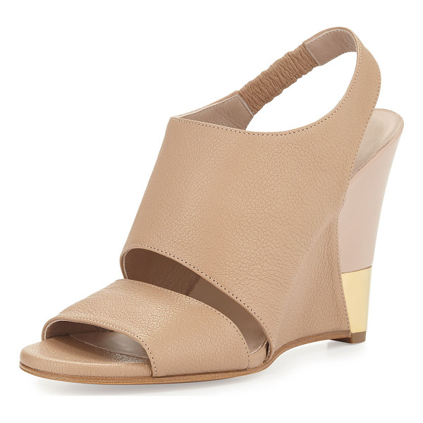 """CHLOE Open-toe leather wedge sandal - Chloe sandal with tumbled leather upper. 4"""" wedge heel with..."""