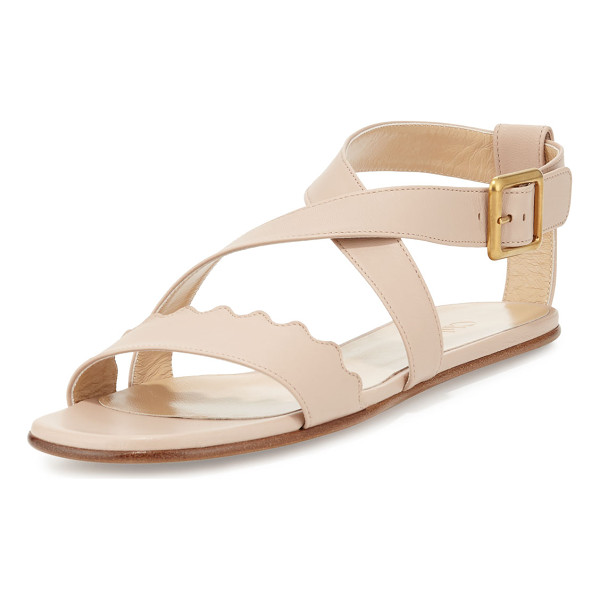 "CHLOE Scalloped Crisscross Flat Sandal - Chloe leather sandal. 0.3"" flat heel. Scalloped strap bands..."