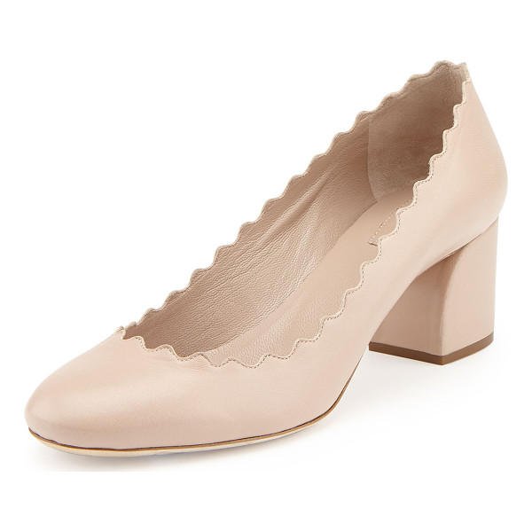 "CHLOE Scalloped leather pump - Chloe leather pump. 2"" covered block heel. Signature..."