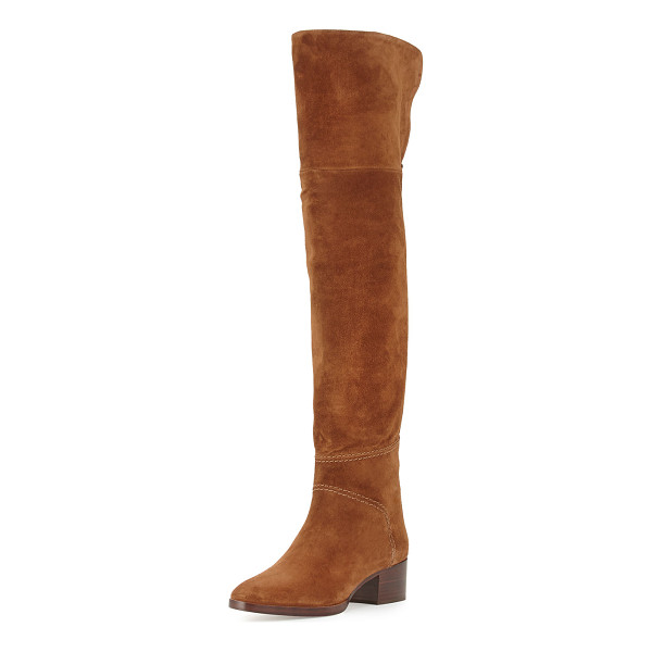 """CHLOE Suede Over-the-Knee Flat Boot - Chloe suede over-the-knee boot. 22""""H shaft; 17""""..."""