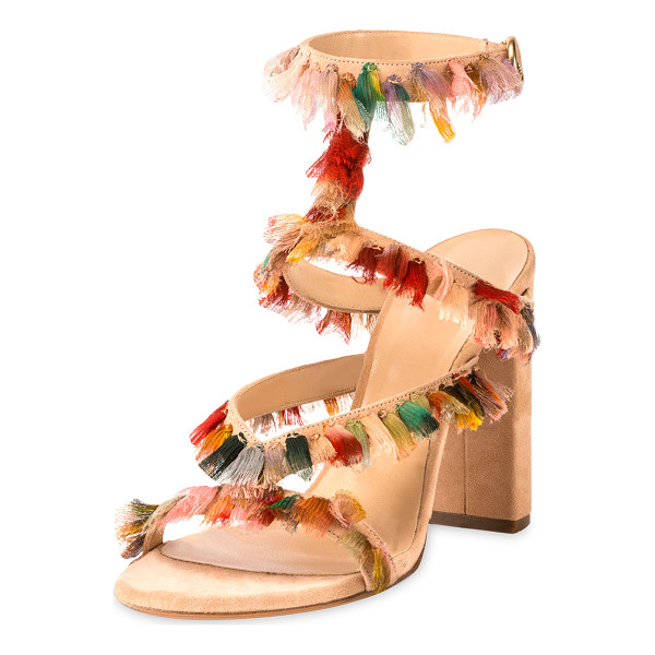 CHLOE Suede Sandal with Colorful Fringe - Chloe strappy suede sandal, embellished with multicolor...