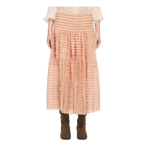 CHLOE Tiered Ribbon Lace Ruffled Silk Skirt - Chlo skirt in ribbon-striped tiered lace. A-line...