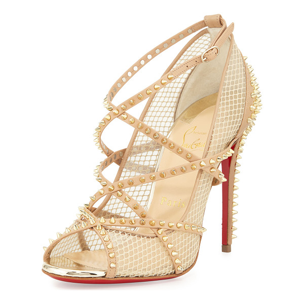 CHRISTIAN LOUBOUTIN Alarc mini-spike mesh red sole sandal - Christian Louboutin leather and mesh sandal with golden...