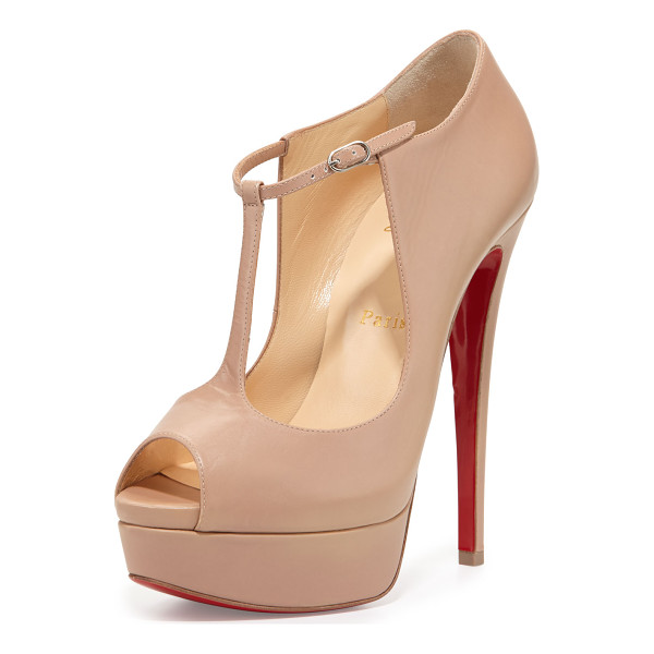 "CHRISTIAN LOUBOUTIN Alta poppins t-strap red sole pump - Christian Louboutin kid leather pump. 6"" covered heel; 1""..."