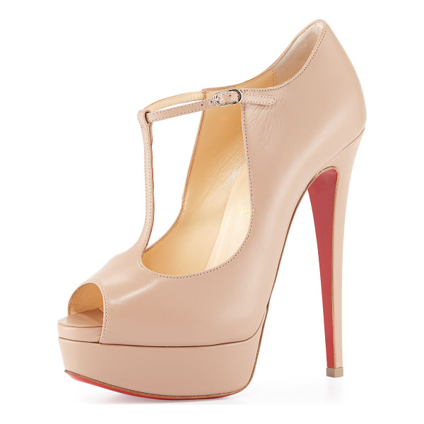"""CHRISTIAN LOUBOUTIN Altapoppins t-strap platform red sole pump -  Christian Louboutin calf leather pump. 6"""" covered heel; 1""""..."""