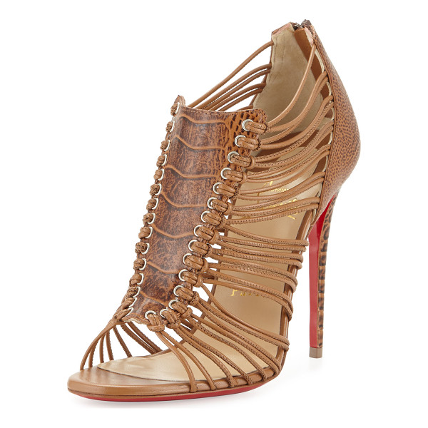 """CHRISTIAN LOUBOUTIN Amal ostrich caged red sole bootie - Christian Louboutin ostrich leg and leather bootie. 4""""..."""