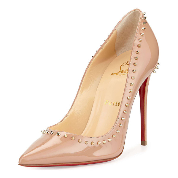 CHRISTIAN LOUBOUTIN Anjalina spike patent red sole pump - Christian Louboutin patent leather pump. Golden mini-spikes...