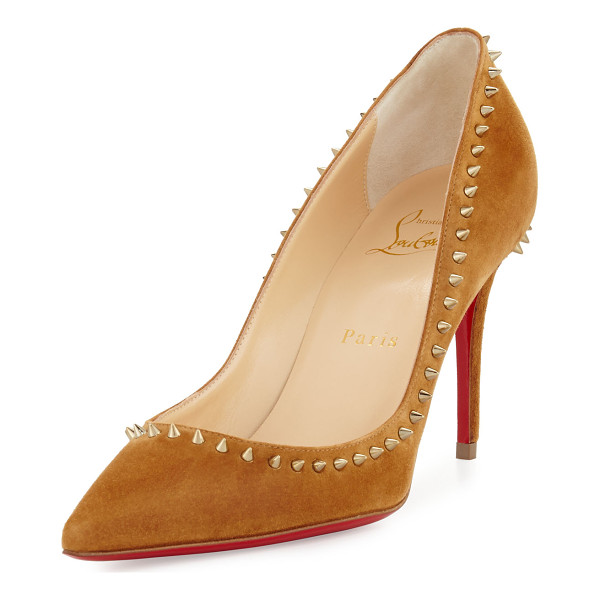 "CHRISTIAN LOUBOUTIN Anjalina Suede Spiked Red Sole Pump - Christian Louboutin suede pump with spiked trim. 3.3""..."
