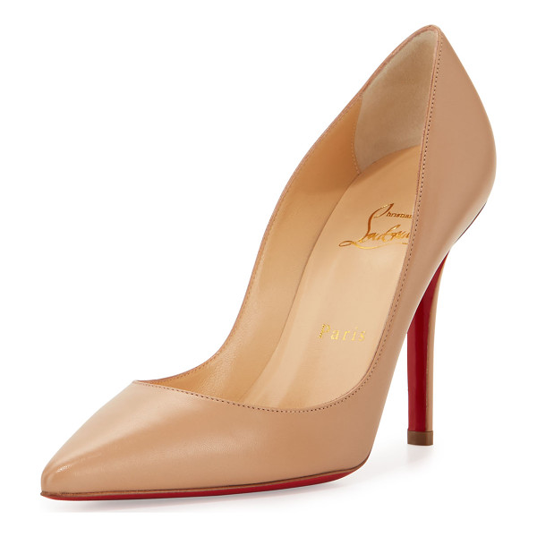 "CHRISTIAN LOUBOUTIN Apostrophy Pointed Red-Sole Pump - Christian Louboutin leather pump. 4"" covered heel. Pointed..."