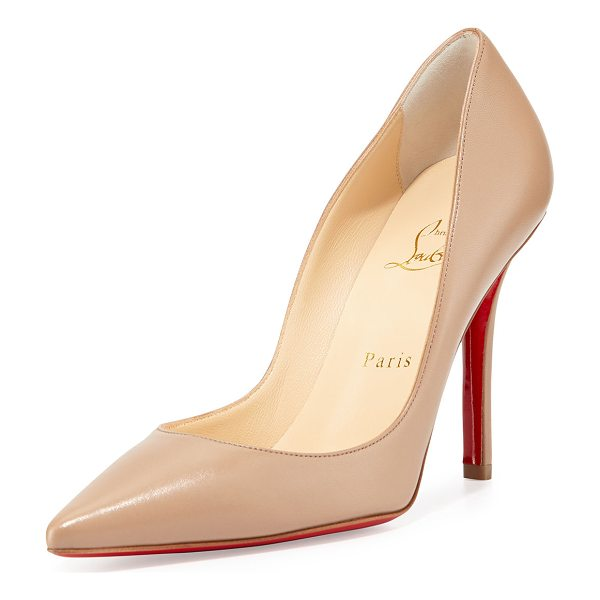 "CHRISTIAN LOUBOUTIN Apostrophy Pointed Red-Sole Pump - Christian Louboutin napa leather pump. 4"" covered heel...."