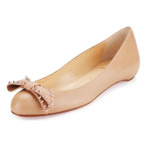"CHRISTIAN LOUBOUTIN Ballalarina spiked bow flat - Christian Louboutin smooth leather ballerina flat. 0. 3""..."