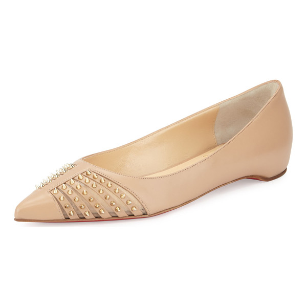 CHRISTIAN LOUBOUTIN Baretta Studded Red Sole Skimmer Flat - Christian Louboutin kid leather skimmer flat. Flat heel....