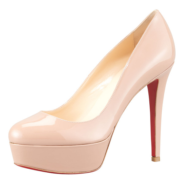 "CHRISTIAN LOUBOUTIN Bianca Patent Leather Platform Red Sole Pump - Christian Louboutin patent leather pump. 4.8"" covered heel;"