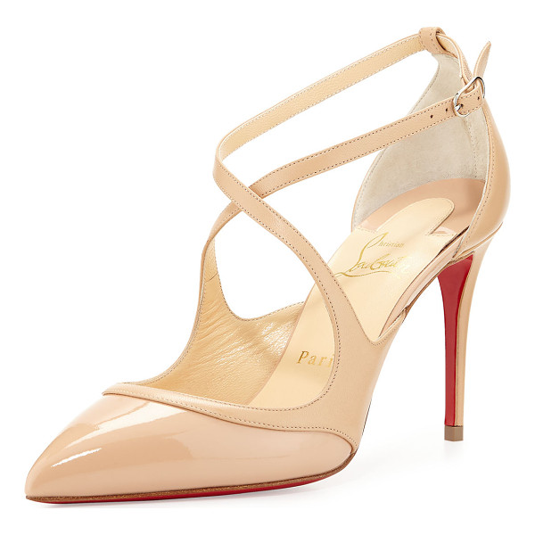 CHRISTIAN LOUBOUTIN Chrissos Crisscross 85mm Red Sole Pump - Christian Louboutin patent and napa leather pump. Available
